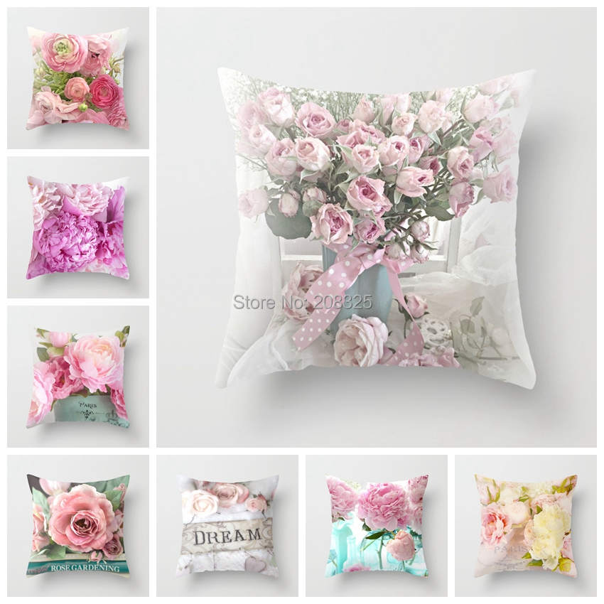 ZENGIA Euro Style Home Decor Cushion Cover Rose Flower Throw Pillow for sofa Mediterranean style pillow case for Mothers' Day(China)