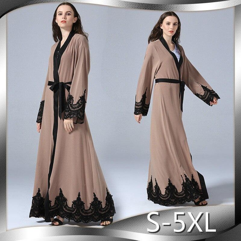Mode broderie Robe turquie loisirs Long Cardigan Robe élégante femmes robes pour grandes tailles S M L XL XXL XXXL 4XL 5XL