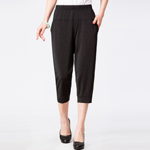2019 New Summer Women Casual Loose Elastic Waist Harem Pants Vintage Female Thin Print Pants Capris Plus Size 4XL