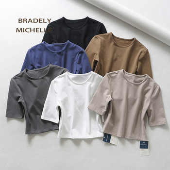 BRADELY MICHELLE crop tops for women 2018 Sexy female pure cotton o-neck half-length sleeve solid elasticity shirt - DISCOUNT ITEM  50% OFF All Category