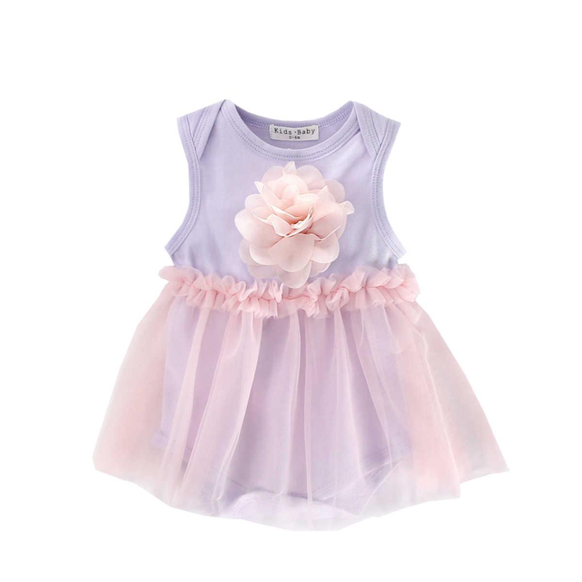 Mùa hè cho bé gái lưới bodysuit kid cho bé cotton áo hoa công chúa tutu áo quần áo sơ sinh beachsuit