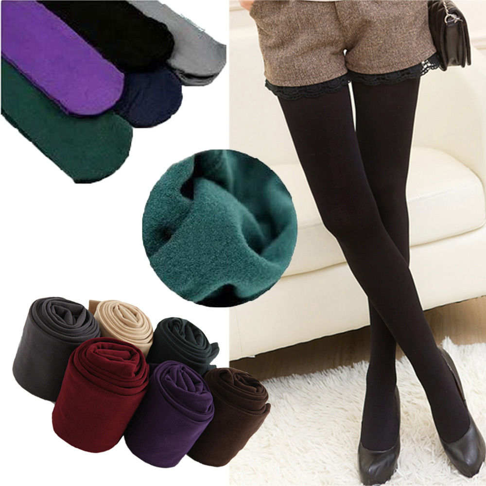 Women Ladies Opaque Plain Warm Thick Velvet Tights Pantyhose Stockings One Size SCKLH0003