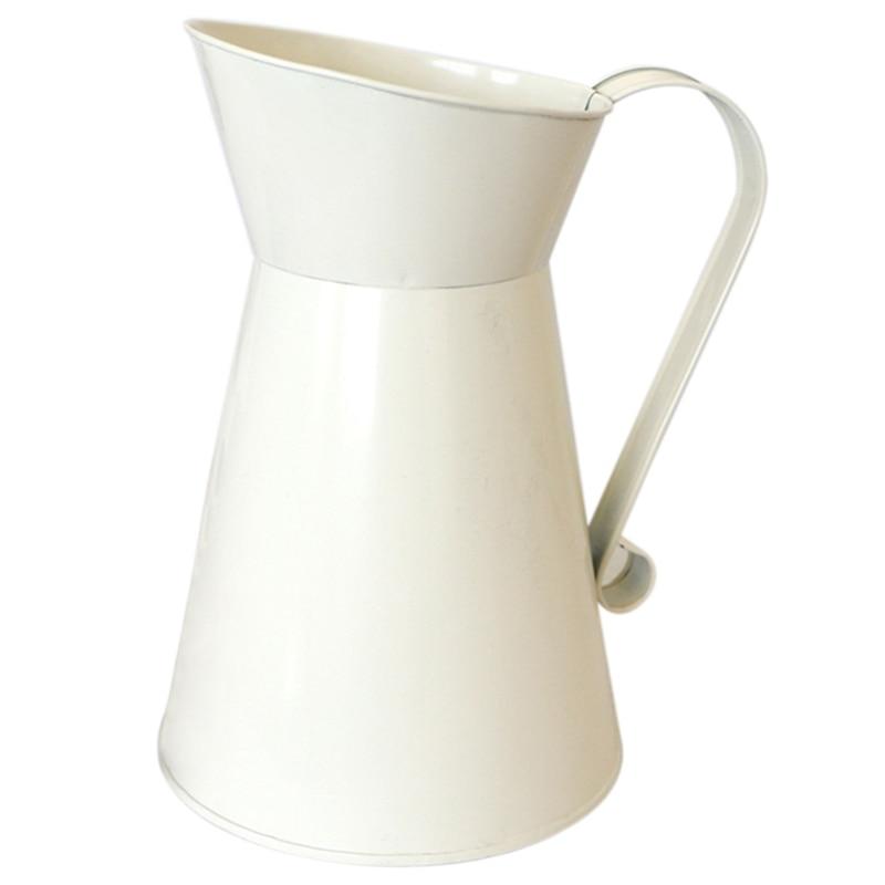 CSS Vintage Tall Shabby Chic Cream Vase Enamel Pitcher Jug Wedding Home Decor