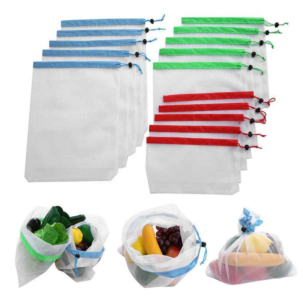 15x Eco Friendly Reusable Mesh Produce Bags Superior Double-Stitched Strength