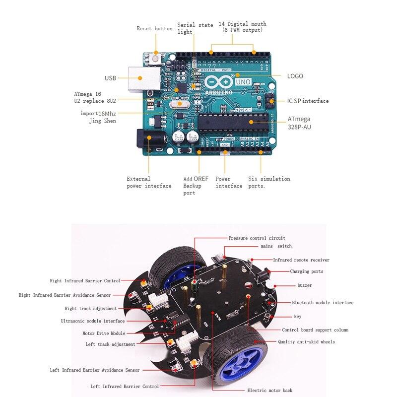 Applicable pour Arduino Uno Smart voiture Robot Kit bricolage Programmable éducation évitement d'obstacles Bluetooth télécommande voiture Us P - 5