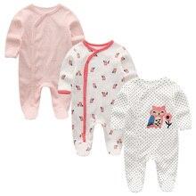 Одежда для девочек 2/3 шт., одежда для маленьких девочек, одежда с длинными рукавами для маленьких мальчиков 0-12 месяцев, хлопковый Детский боди для новорожденных, Ropa de Bebe