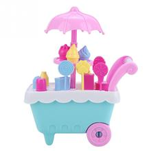 Simulation Mini Ice Cream Trolley Toy Supermarket Candy Ice Cream Cart Set With Light nice gift for children kids New Arrival supermarket cart simulation shopping trolley with fruits and vegetables toys for kids