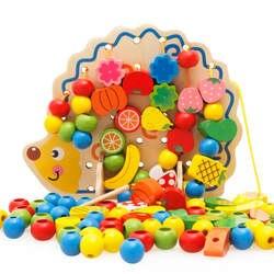 Деревянный Ежик фрукты шнуровка бусины комплект творческий ручной работы раннего образования игрушечные лошадки бусы ручной работы