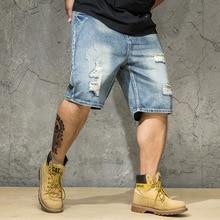 Ripped Denim Shorts Male Plus Size 4XL 5XL 6XL Hole Jeans Destressed Shorts Men Large Big Size Bermuda Straight Fit Breeches Men