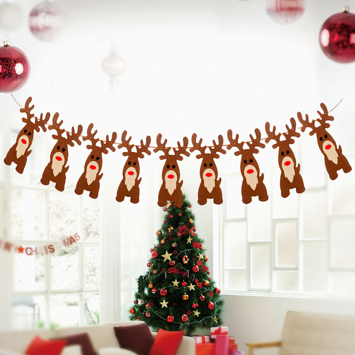 Christmas Banners.Us 2 7 29 Off 1pc Christmas Banners Non Woven Xmas Tree Elk Design Hanging Bunting Garlands Ornaments Flags Banners For Home Christmas Party In