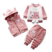 2019 Autumn New Cute Kids Clothing Infant Children Cartoon Casual Fleece+Sweater+Pants Velvet 3pcs Outfits Clothes