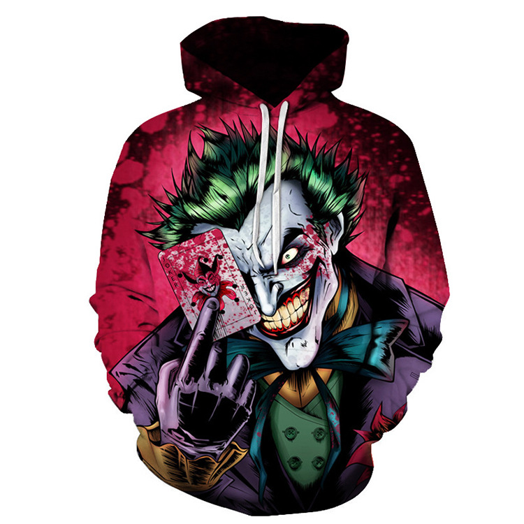3D poker pattern clown jacket joker suit casual print hooded sweatshirts