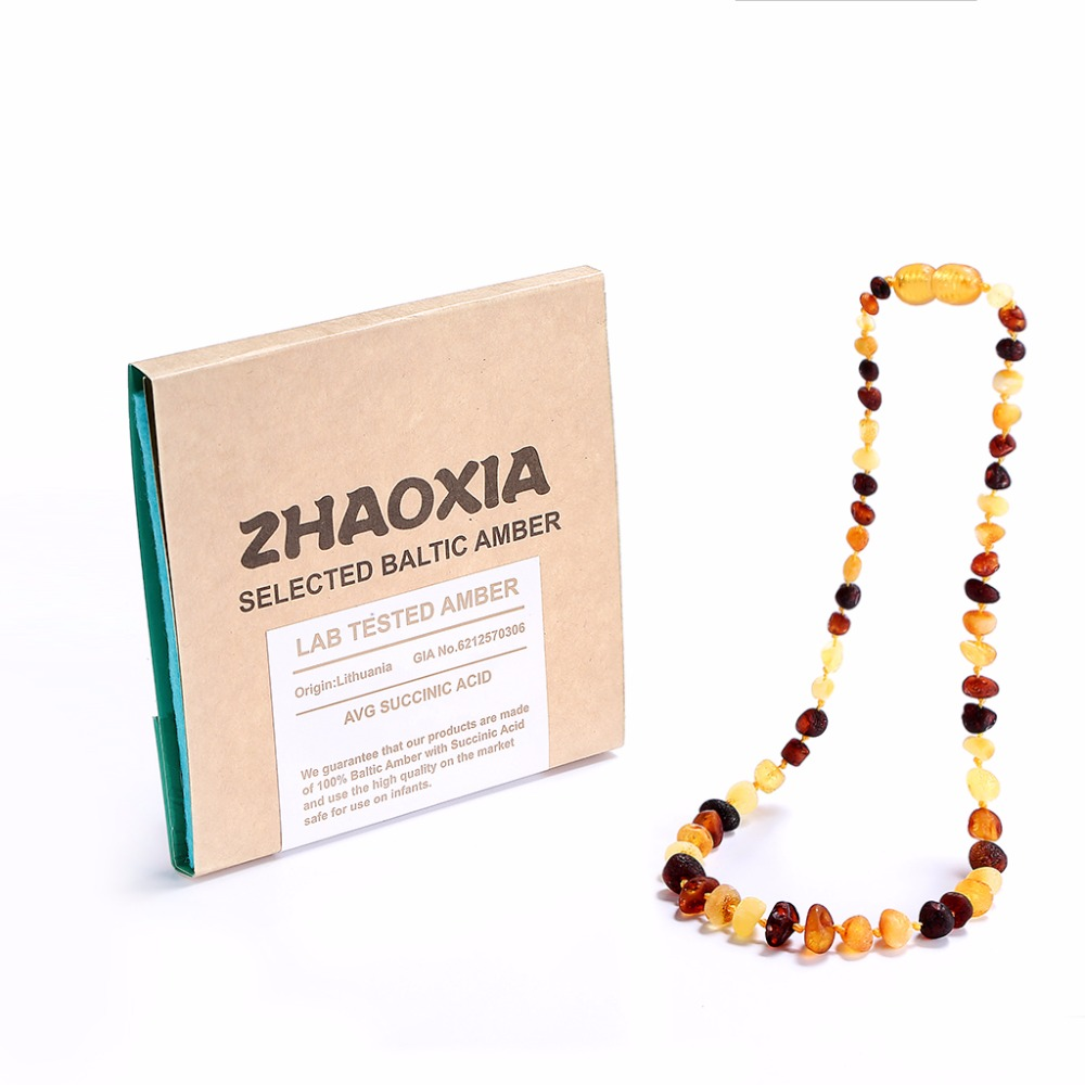RawBaltic Amber Teething Necklace for Baby (Raw Warna - UnPolished) - buatan tangan di Lithuania - Authentic Lab-Tested - 3 Saiz