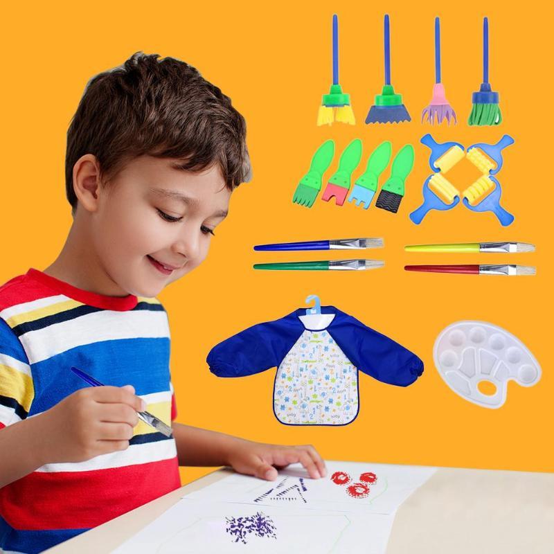 Nice 18pcs/set Children Rotate Spin Sponge Paint Drawing Toy Kids Diy Flower Graffiti Sponge Art Supplies Brushes Painting Tool Educa Learning & Education