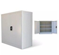 VidaXL Ufficio di Gabinetto 2 Porte 90 Centimetri Grigio Metallo Armadi Mobili Per Ufficio Armadio Di Stoccaggio Ufficio di Montaggio