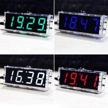 Kit d'horloge numérique LED compacte à 4 chiffres, contrôle de la lumière, affichage de la température, de la Date et de l'heure avec boîtier Transparent