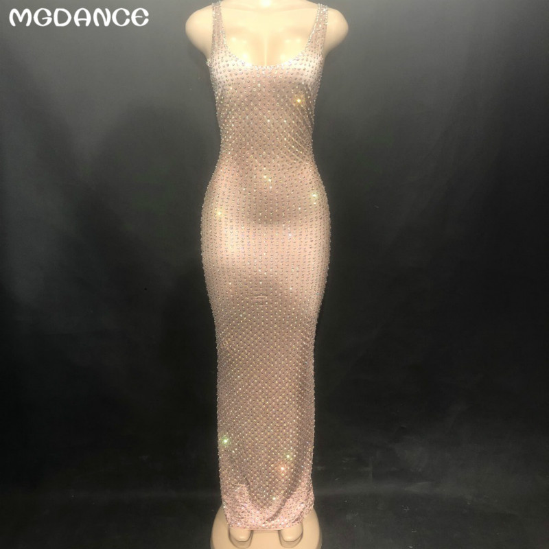 New Women Rhinestones Sparkling Crystals Nightclub Party Stage Wear Costumes Sexy Stage Skin Color Long Dress Sleeveless