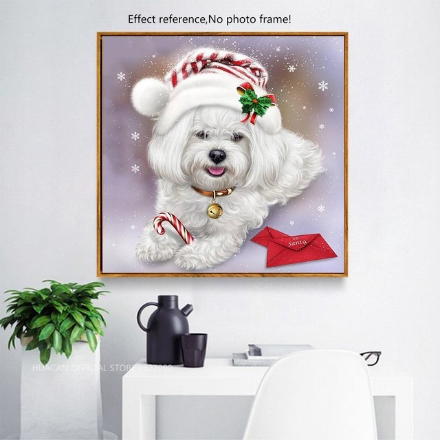 HUACAN Diamond Painting Full Square Dog 5D DIY Diamond Embroidery Mosaic Picture Of Rhinestone Animal Christmas