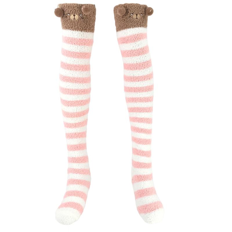 ABDL Winter Warm Coral Fleece Knee Socks Baby Girls Animal Stockings Striped Kawaii Long Thigh High Socks Ddlg Daddy Dom Socks