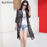 Rqueena Print Blouses Womens Chiffon Cardigans Plus Size Loose Woman Long Black Chiffon Summer Cardigan Kimono Women 2019 SC018