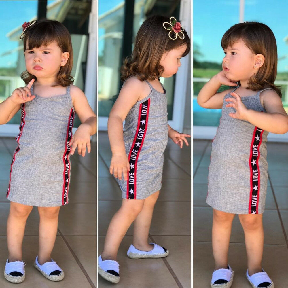 Fashion Summer Kids Baby Girls Sleeveless Dresses Cotton Party Toddler Kids Children Dress Infant Beach Strap Casual Clothes