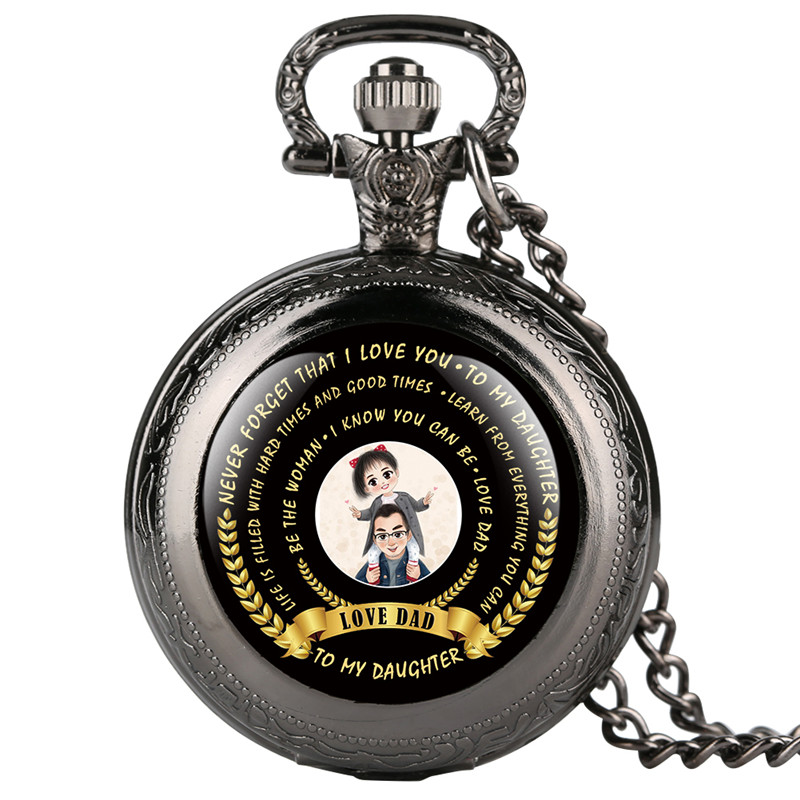 Quartz Pocket Watch Analog Pendant For Daughter Love Dad Series Pocket Watches With Blessing Creative Gift For Pocket Watch