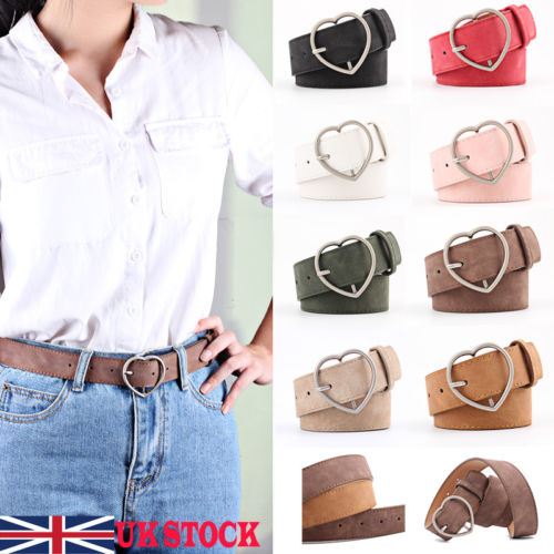 b21b020f1f4d 2019 Fashion Waist Belt Women s PU Leather Belt Buckle Heart Style Waist  Jeans Adjustable Band UK