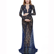 YJSFG HOUSE Women's Dress Long Sleeve Mesh Sheer See Through Lace V-Neck Maxi Long Dress Maternity Gown Photography Dress Plus smdppwdbb maternity dress maternity photography props long sleeve maternity gown dress mermaid style baby shower dress plus size