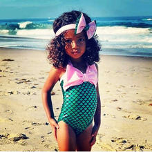 Mermaid toddler girl one-piece swimsuit green fish scale monokini