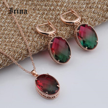 Irina New Oval  Long Earrings With Multicolor Stone Cubic Zirconia Dangle Earring Pendant Necklace Woman Personality Jewelry Set extremely attractive dangling earring blue green and clear oval cut stones of cubic zirconia big round dangle pendant earrings