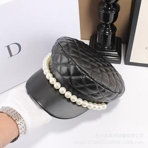 Image 5 - Chapéu de couro feminino, chapéu de couro de pérola tipo boina casual