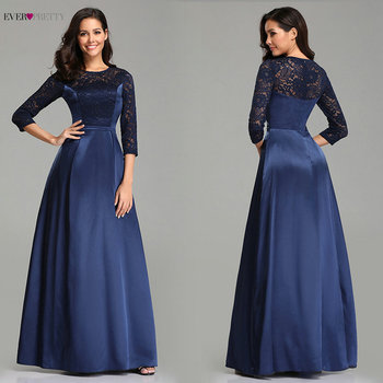 Navy Blue Prom Dresses 2020 Lace Sleeve Satin Elegant A-line Long Wedding Guest Party Gowns Ever Pretty Sexy Vestido De Gala - discount item  40% OFF Special Occasion Dresses
