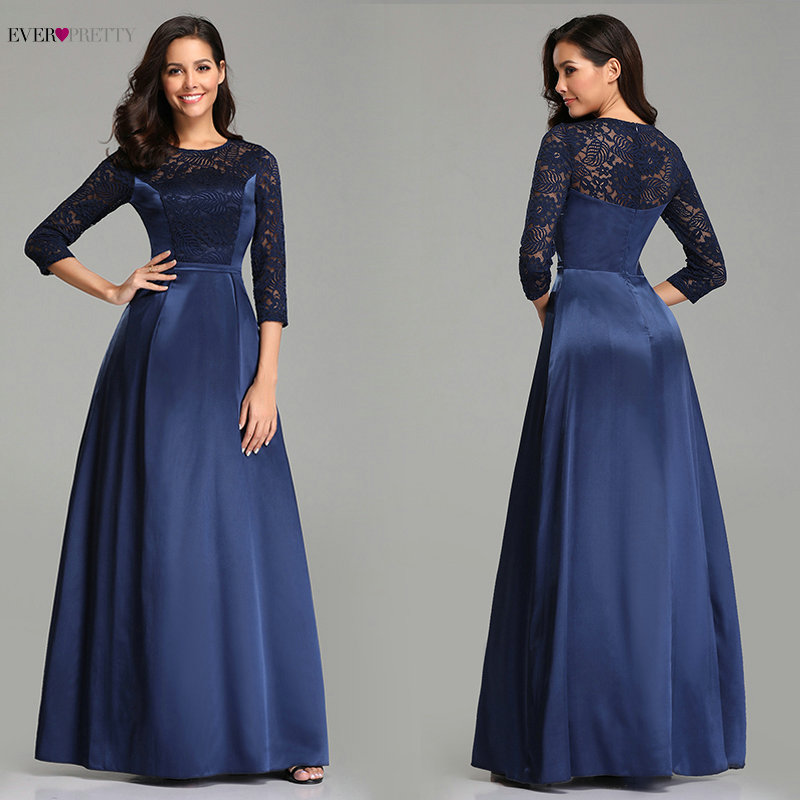 Navy Blue   Prom     Dresses   2019 Lace Sleeve Satin Elegant A-line Long Wedding Guest Party Gowns Ever Pretty Sexy Vestido De Gala