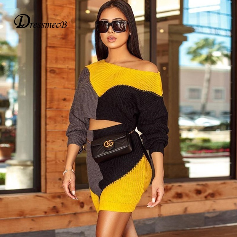 DRESSMECB Autumn Knitted Two Piece Set Top And Mini 2 Piece Set Women Dress Winter Warm Long Sleeve Bodycon 2 Piece Set Outfit