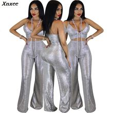 Xnxee Sheer Mesh Sequins Club Two Piece Set Strapless Crop Top High Waist Wide Leg Pants Women Sexy Outfits Party Costume Suit