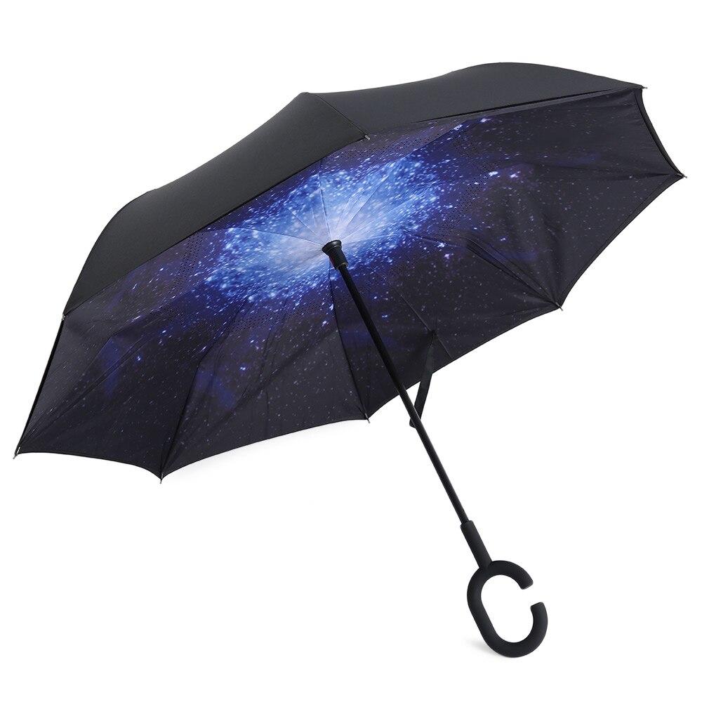 Folding Reverse Umbrella Double Layer Inverted Windproof Rain Car Umbrellas Women