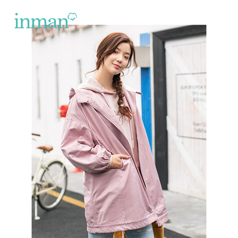 INMAN 2019 Spring New Arrival Hooded Casual Student Style Korean Fashion Loose All Matched Women Coat