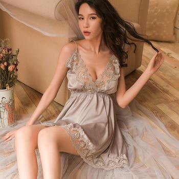 Night Sleep Dress Nighties for Women Underwear Lingerie Sling Lace Embroidery V-Neck Sexy Nightdress Lenceria Femenina 1