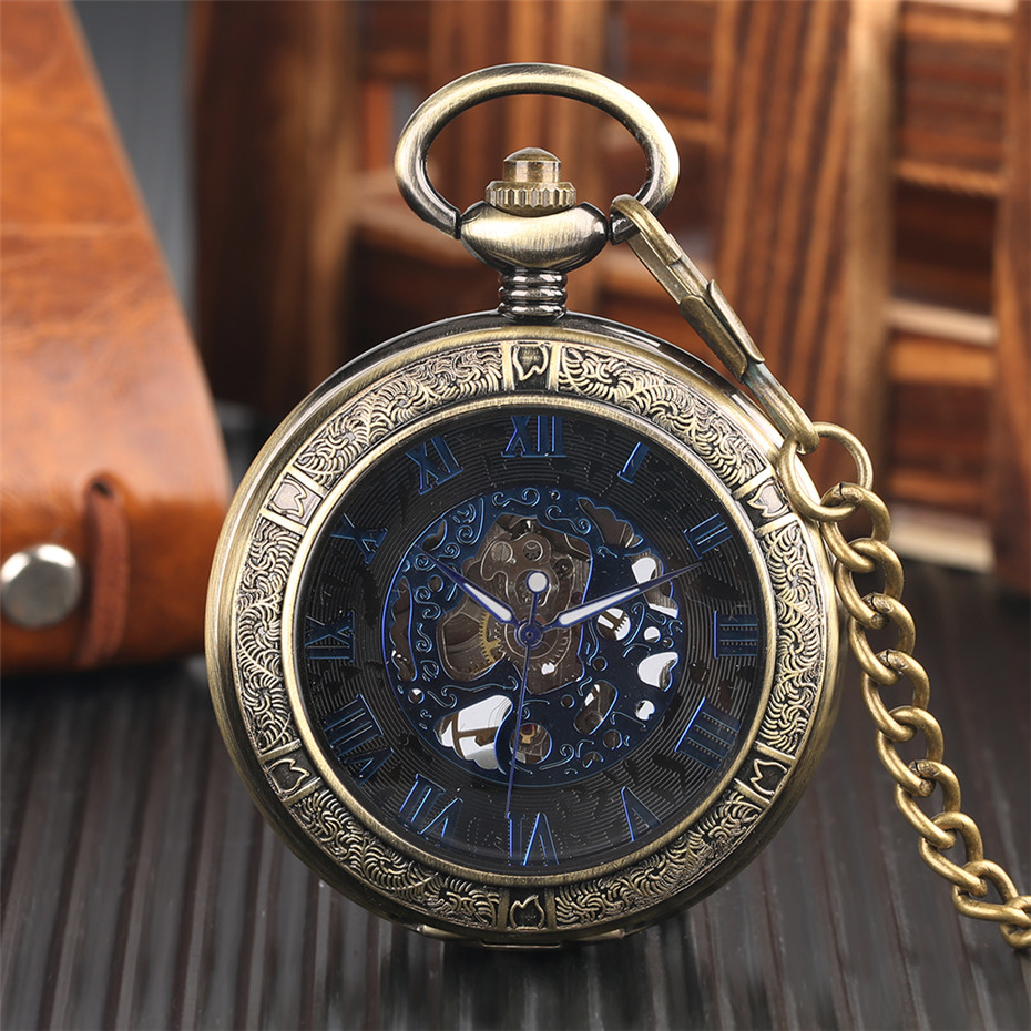 Vintage Mechanical Pocket Watch Men Blue Roman Numerals Display Transparent Pendant Watch Gifts For Women Hand Winding Fob Clock