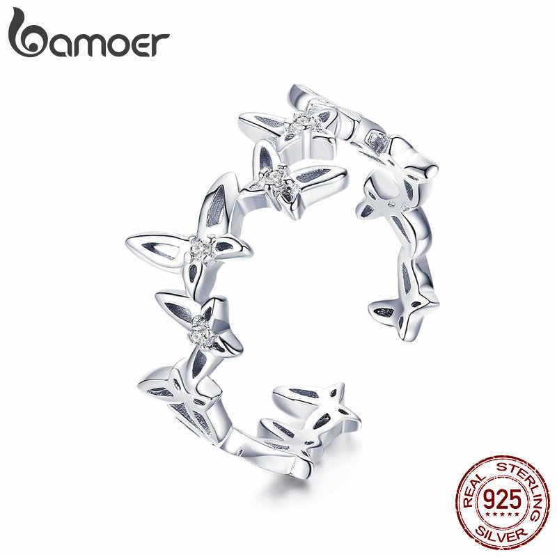 BAMOER แฟชั่นเงิน 925 ผีเสื้อเต้นรำขนาดเปิดนิ้วมือแหวนเงินเครื่องประดับ BSR027