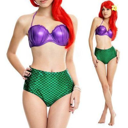 Cotton  Ariel Costume Two Piece Bikini Set Swimsuit Pushup Padded Bandeau Top