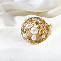 Vanssey Fashion Jewelry Handmade Flower Bird Nest Egg Natural Baroque Pearl Brooch Pins Wedding Accessories for Women 2019 New