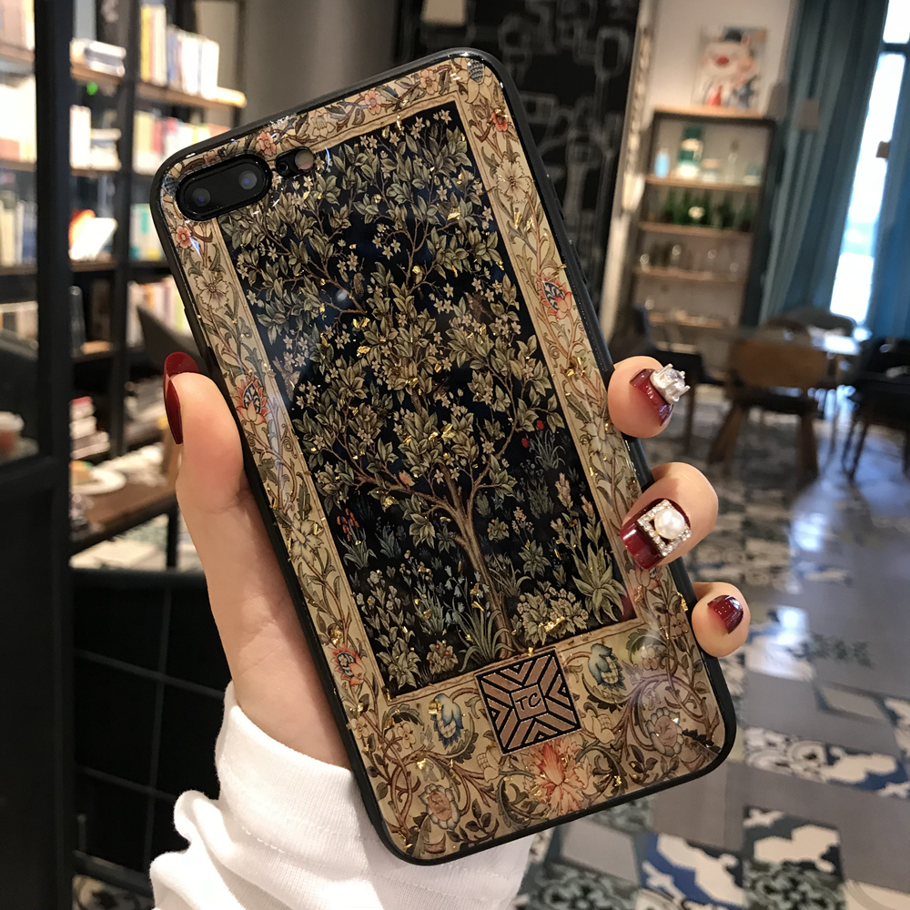 Gold Foil Propitious Tree Bling Phone Case For iPhone 8 7 6 6s Plus Soft TPU Cover For iPhone X XS Max XR 11 Pro Glitter Case