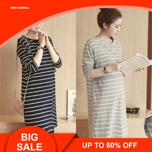 Spring Autumn Nursing Dress Breastfeeding Maternity Clothes For Pregnant Woman Cotton Striped Lactation Dress цены