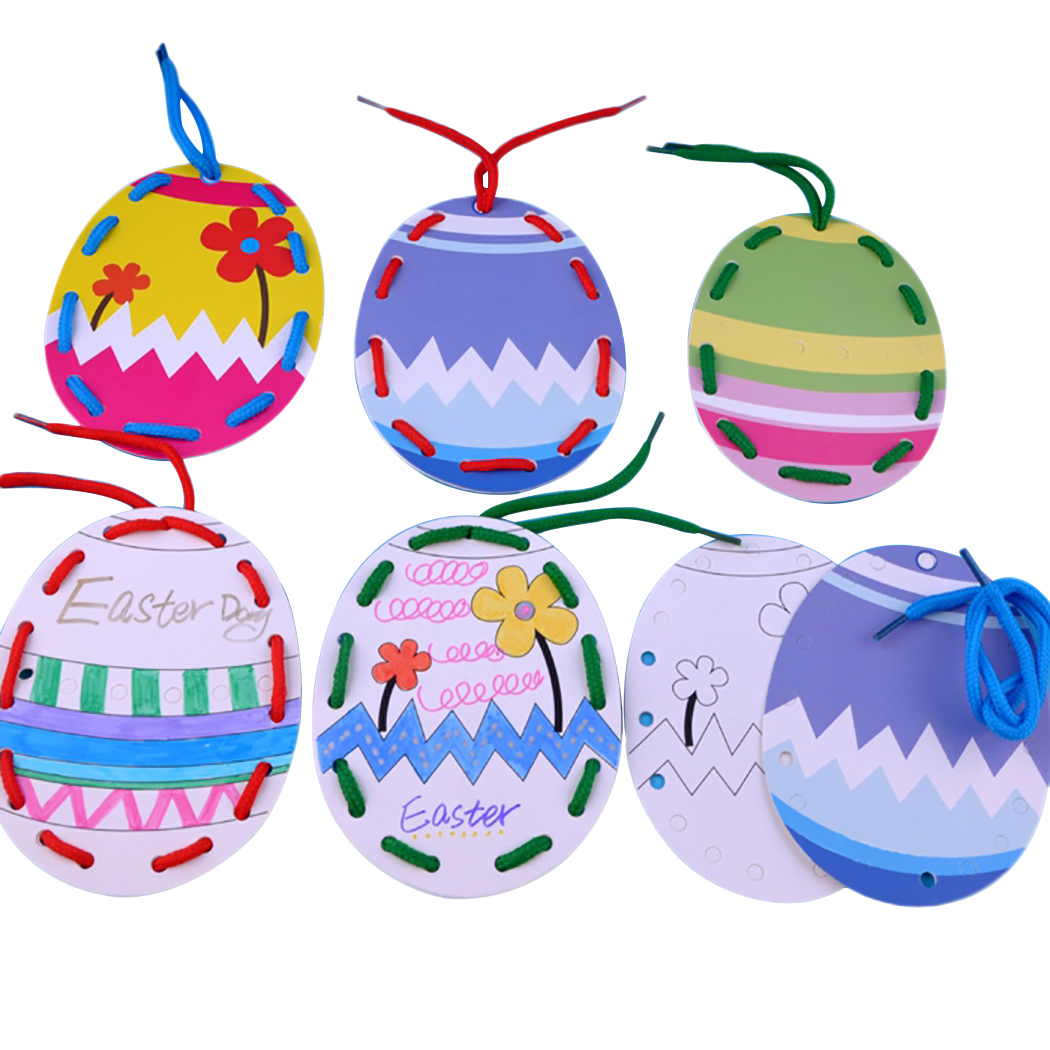 10PCS Easter Hanging Ornament Easter Egg Pendant Kindergarten Children Painting Coloring Paper Egg Pendant Festival Decoration in Party DIY Decorations from Home Garden