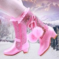 Girls high heel boots winter children's shoes girls pink new 2018 children high tube princess hair ball boots