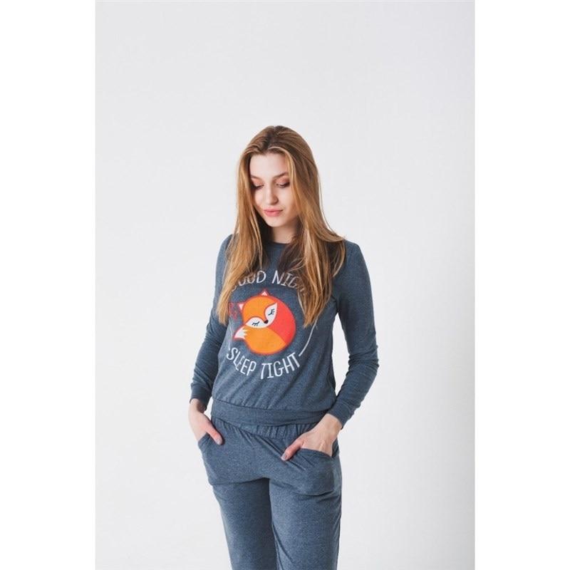 Sweatshirt women KAFTAN Fox Jeans chic rhinestoned faux crystal fox shape brooch for women