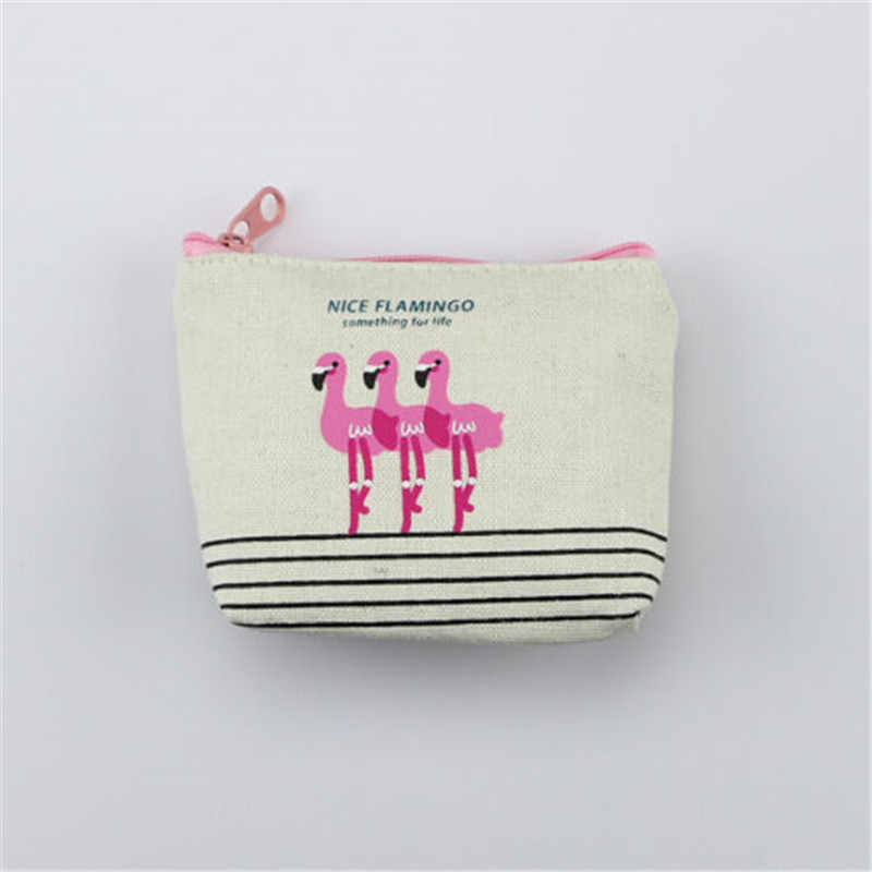 Bonito Mulheres Meninas Coin Purse Mini Flamingo Titular do Cartão Chave de Carteira Zíper Da Lona Bolsa