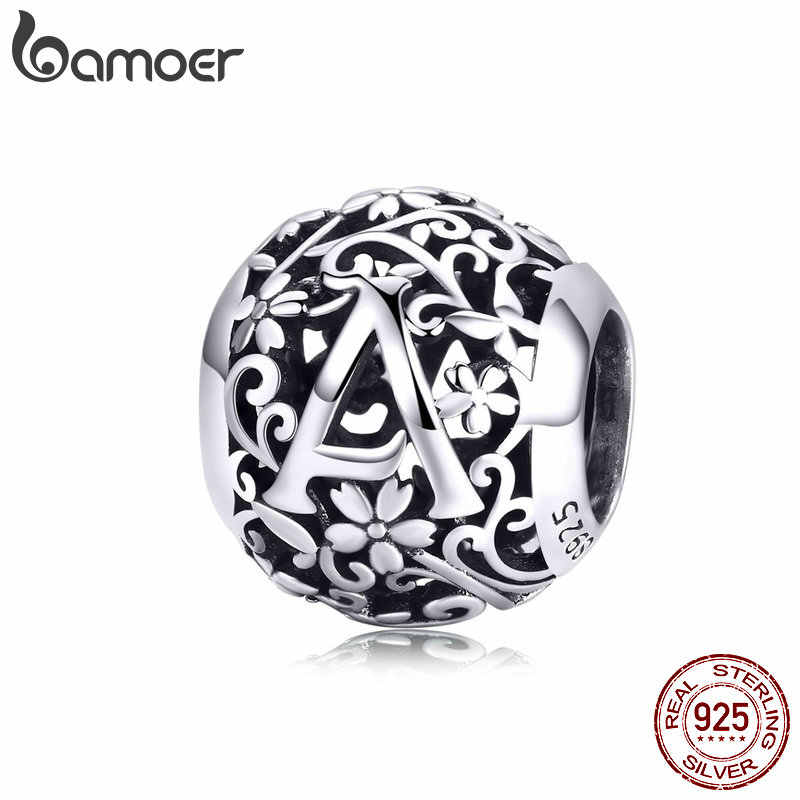 BAMOER Alphabet Round Beads Silver 925 Jewelry Vintage Name Customied Beads for Silver Snake Bracelet DIY Jewelry Making SCC1158