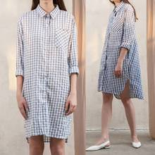 0d96cd3f52 Plus Size 2019 Celmia Vintage Plaid Shirt Dress Women Summer Long Sleeve  Casual Buttons Split Loose